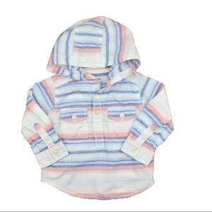 Kids Hooded Striped Shirt, Size 12 Months